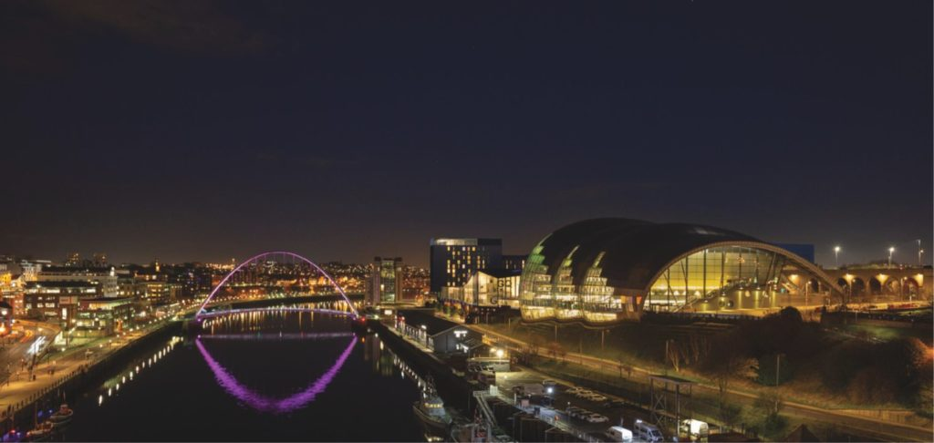 Iconic quayside skyline at night